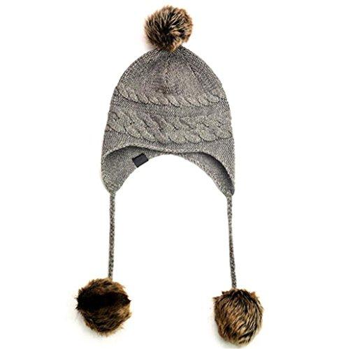 ZHAS Gorro de punto, Señoras Sombrero de invierno cálido, proteger el oído peludo Cap