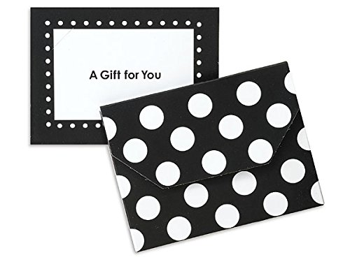 Pack of 12, Solid Polka Dot Black Fold Over Gift Card Holder 4-1/2 x 3-1/2 x 3/8''