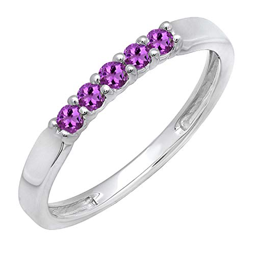 Dazzlingrock Collection 10K Round Amethyst 5 Stone Ladies Anniversary Wedding Band Ring, White Gold, Size - Ring Solid Gold Amethyst