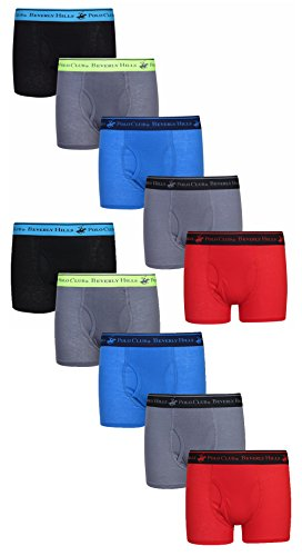Beverly Hills Polo Club Boys' Solid Boxer Briefs, Assortment 2, Small / 4-6 (Pack of 10)