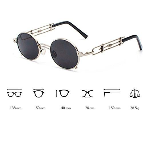 mujeres Circular Tono Gafas de Rosado de Inlefen sol y gafas Gafas de Hombres de sol de recubrimiento marco Gafas metal de Espejo xwXUPq