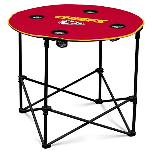 Kansas City Chiefs  Collapsible Round Table with 4 Cup Holders and Carry Bag ()