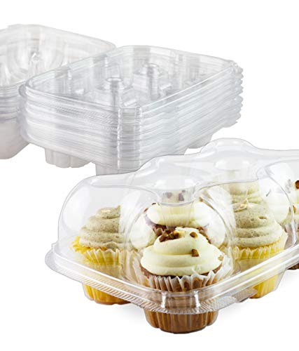 Premium 6 Cupcake Carrier Container, Cupcake Box, High Dome, 15 Pack - By Chefible
