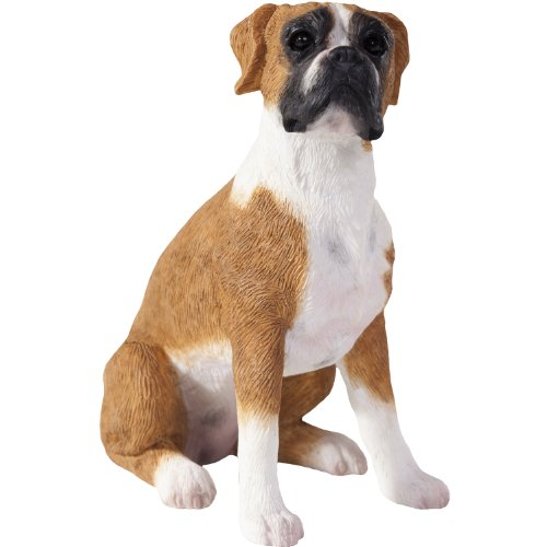 Sandicast Figurine (Sandicast Fawn Boxer with Uncropped Ears Sculpture, Sitting, Small Size)