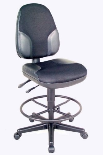 Monarch Armless Leather Drafting Stool Black Fabric/Black Leather Inset