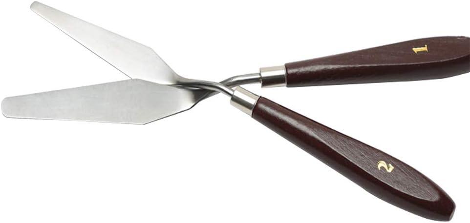 Bestgle 2 Piezas De Acero Inoxidable,Cuchillos De Paleta Suministros De Arte cuchillo de paleta de pintura al /óleo de acero Set,mango de madera Accesorios para Pintura Al /óleo