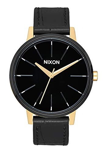 Nixon Kensington Leather Gold/Black/White Casual Designer Women's Watch (37mm. Gold, Black & White Face/Black Leather Band)