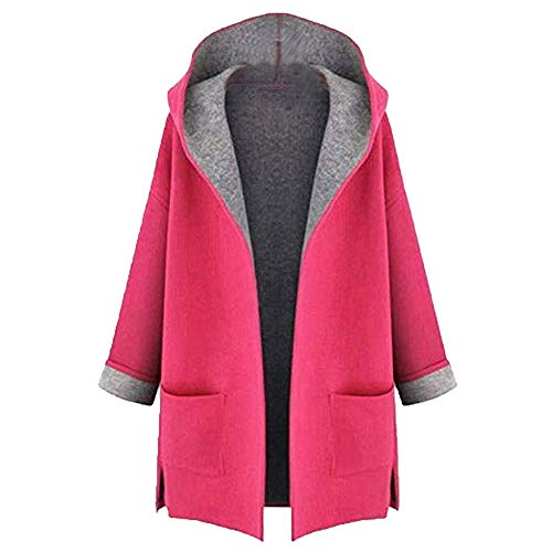 (ANJUNIE Jackets for Women Winter Sale Fahion Coat Medium Long Large Size Loose Front Open Outwear(Pink,XXL))