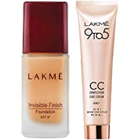 Lakme Invisible Finish SPF 8 Foundation, Shade 01, 25ml & Lakme 9 to 5 Complexion Care CC Cream, Honey, 30g