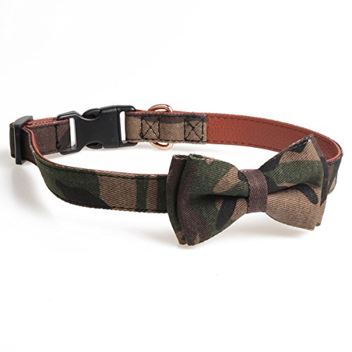 - chede Soft &Comfy Bowtie Dog Collar, Detachable Adjustable Bow Tie Collar Pet Gift (S, Army Green)