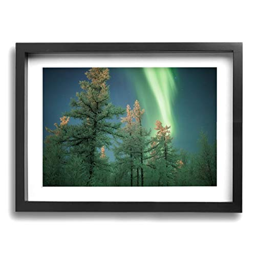Framed Modern Canvas Wall Art Aurora Green Trees, Oil Painting Pictures Decor with Mat Ready to Hang for Home Kitchen Bathroom Office - 12 X 16 Inch -
