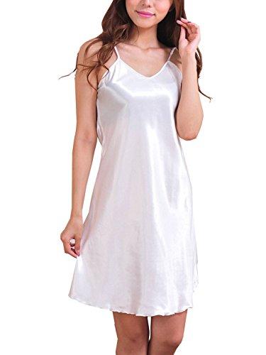 Feoya Chemises de nuit Femme Satin Sexy Fines Bretelles Pyjamas robe - Blanc