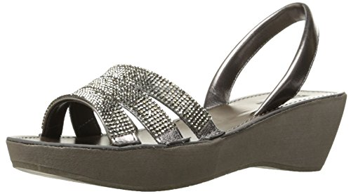 Kenneth Cole REACTION Women's Fine Platform Wedge Slingback Jeweled Sandal, Gunmetal, 7 M US ()