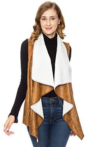 (KAYLYN KAYDEN KLKD C002 Women's KLKD Women's Faux Fur Suede Shearling Vest, Camel,)