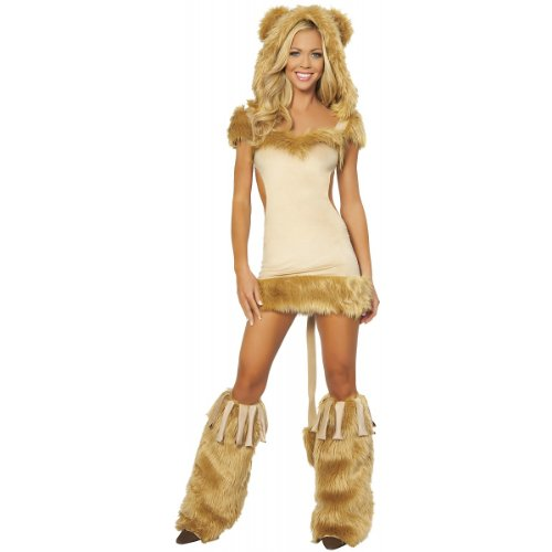 [Roma Costume 1 Piece Courageous Lioness Costume, Honey, Large] (Woman Lioness Costume)