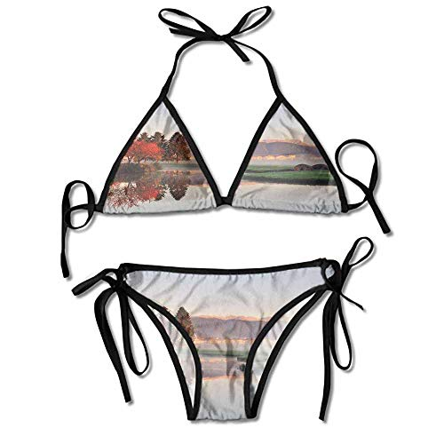 Hot Summer Women's Bikini,Trees Reflection Stone Bridge Sexy Bikini 2 -