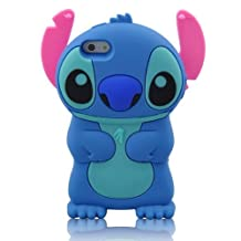 Augus New Fashion Stylish Cartoon 3d Stitch Soft Silicone Case Cover with Movable Ear Flip for Iphone 6 4.7 Inch + 3d Blue Stitch 3.5mm Headphone Anti-dust Plug (Blue)