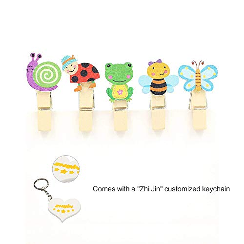 - Zhi Jin 10pcs/Set Cute Wooden Clip Pegs Clothespins for Photo Album Postcard Note Paper Decor Clamp with Rope and 2Pcs Non-trace hooks, Bee and Butterfly