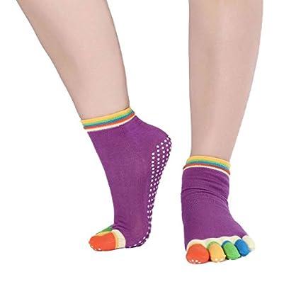 Beautyrain 1 par Calcetines coloridos del dedo del pie de cinco dedos Antideslizante antideslizante para Yoga