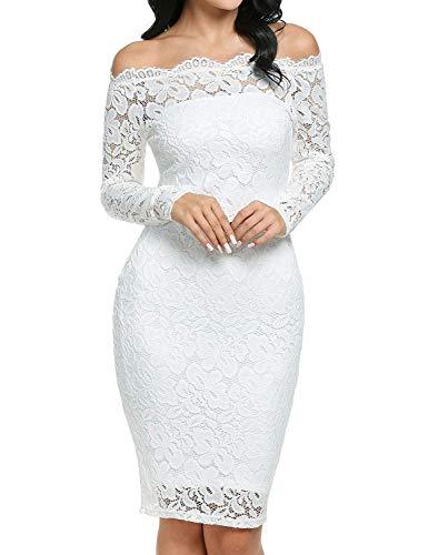 Imixcity Vestido de Fiesta Encaje Manga Larga sin Hombros Lápiz Mujer Bodycon Blanco