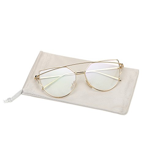 Pro Acme New Fashion Premium Cat Eye Clear Lens Glasses Frame Non-Prescription(Gold,Clear)