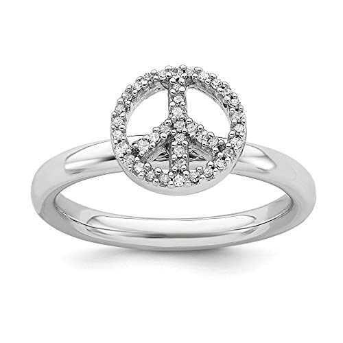 - 925 Sterling Silver Peace Symbol Diamond Band Ring Size 10.00 Stackable Fancy Fine Jewelry Gifts For Women For Her