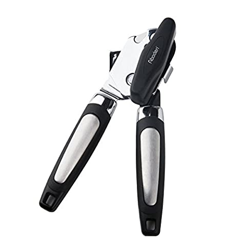 Aboden Smooth Edge Heavy Duty Manual Stainless Steel Can Opener with Non-Slip Handles and Over-Sized (6 Stainless Steel Trash Ring)