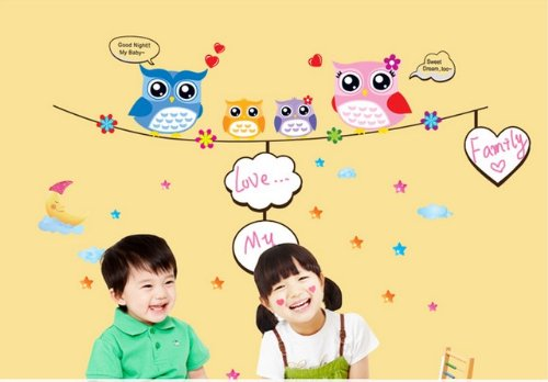 soferrior® Colorful Owl family in Night family Photo Frame Nursery Wall Art Decal Peel&stick Removable Girls Baby's Bedroom Playroom Decor Baby Chirldren Sticker Mural