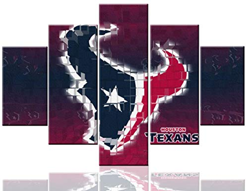 Black American League Frame - Houston Texans Logo Pictures Sport Paintings National Football League (NFL) Wall Art 5 Pcs/Multi Panel Houston Canvas Texas,USA Artwork Home Decor for Living Room Framed Ready to Hang(60''Wx40''H)