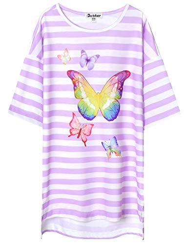 (Girls Nightgowns Butterfly Sleep Shirt Cotton Pajamas Dresses for Girls 7-16)