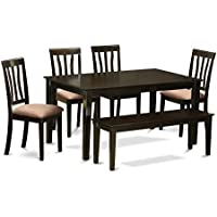 East West Furniture CAAN6-CAP-C 6-Piece Dining Room Table Set with Bench