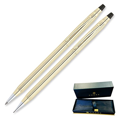 Dayspring Pens - Engraved / Personalized CROSS Classic 10 Karat Gold Plated Pen and Pencil Gift Set. Custom engraved in 1 day cross pen 450105 by Dayspring Pens