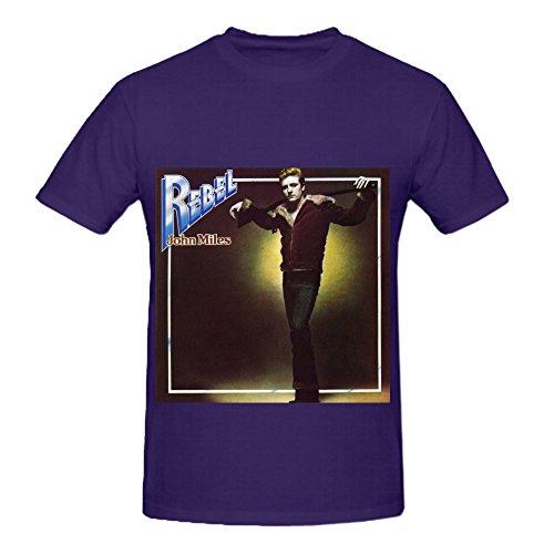 John Miles Rebel 80s Album Cover Mens Crew Neck Slim Fit Tee Shirts Purple