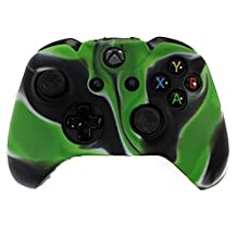 HDE Xbox One Controller Skin Protective Silicone Gel Rubber Grip Cover for Wireless Gaming Controllers (Marble Green/Black)
