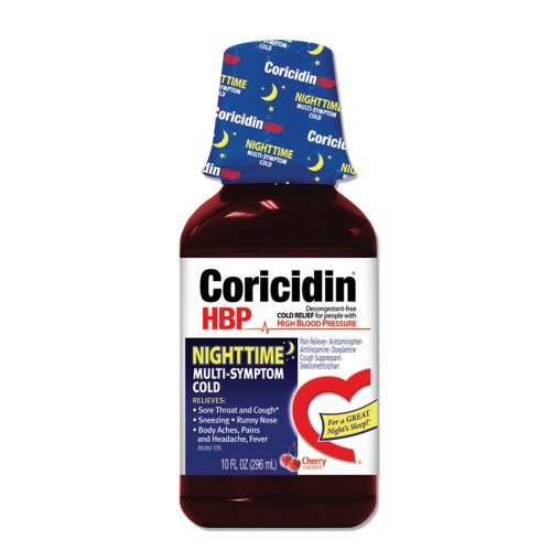 Coricidin HBP Nighttime Mult-Symptom Cold, 12 Fluid ounce bottles (Pack of 3), Cherry (Cough Syrup For Adults With High Blood Pressure)