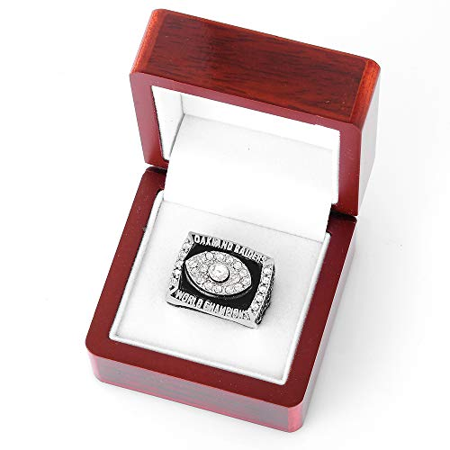 Gloral HIF Oakland Raiders Championship Ring Super Bowl XI 1976 Replica Ring sz 11 with Display Wooden Box