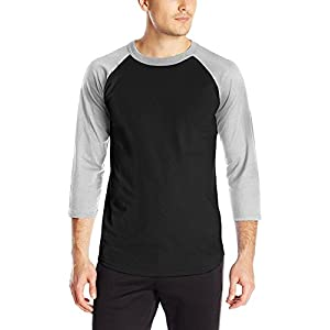 Hat and Beyond MA Mens 3/4 Sleeve Raglan T Shirts Baseball Jersey (Large/am06_Blk.HGRAY)
