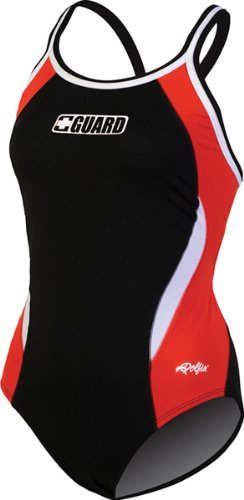 DOLFIN Female Guard DBX Back Color Block,Black/Red/White (72G),32