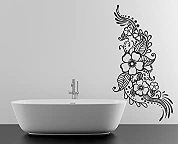 47x90 Cm Vinyl Wall Decal Henna Pattern With Flowers Tattoo
