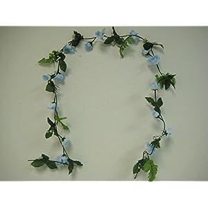 Phoenix Silk 4 Garlands LITE BLUE Small Roses Artificial Silk Flower 5.5 ft Vines 002LBL 75