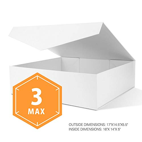 PACKHOME Extra Large Gift Boxes with Lids Rectangular 17x14.5x5.5 Inches, Gift Boxes for Clothes and Large Gifts (Matte White with Embossing, 3 Boxes)