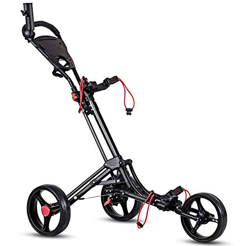 Tangkula Golf Cart 3 Wheels Foldable Hand Cart Easy Push and Pull Cart Trolley with Umbrella and Tee Holder