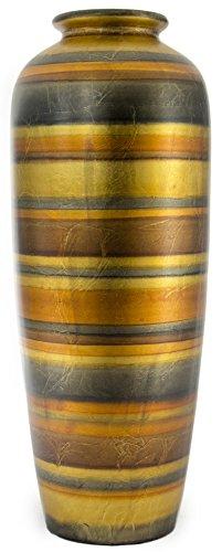 Heather Ann Creations Modern Ceramic Stripe Floor Vase Ceramic Water Jug, 24