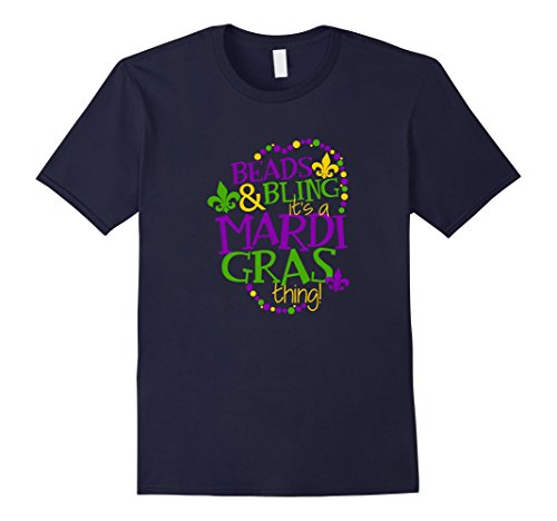 Men's Mardi Gras Best Price T Beads & Bling Its A Mardi Gras Thing Medium Navy (New Orleans Costume)