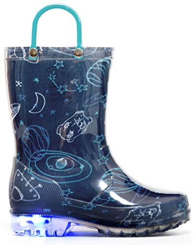 MOFEVER Kids Boys Toddler Light Up Rain Boots Printed Waterproof Shoes Lightweight Cute Blue Cosmos with Easy-On Handles and Insole (Size 1,Blue)