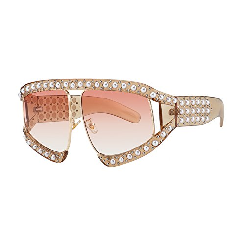 WOWSUM Oversize Fashion Pearl Sunglasses for Women Inspired Brand Designer (pink) ()