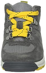 Timberland Earthkeepers GT Scramble Mid Leather and Fabric Boot (Toddler/Little Kid/Big Kid),Grey/Yellow,4.5 M US Big Kid