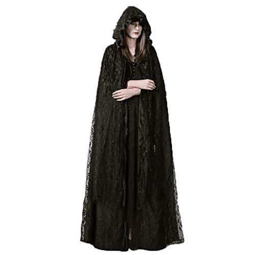 Jizhen Halloween Costumes Dress Up Props Punk Gothic Court Lace Long Cloak Cape Coat Female Halloween Costume Cosplay -