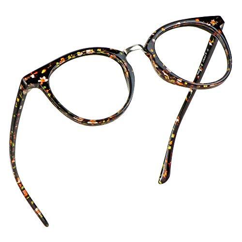 LifeArt Blue Light Blocking Glasses, Anti Eyestrain, Computer Reading Glasses, Gaming Glasses, TV Glasses for Women Men, Anti Glare (Red Floral, +0.75 Magnification)