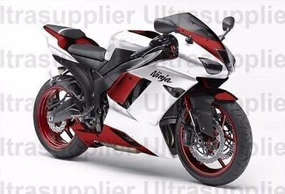 Amazon.com: White w/Red Injection Fairing Kit for 2007-2008 Kawasaki ...